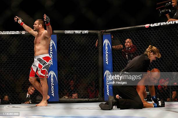 Gabriel Gonzaga reacts to his knockout victory over Dave Herman in their heavyweight fight during the UFC 162 event inside the MGM Grand Garden Arena...