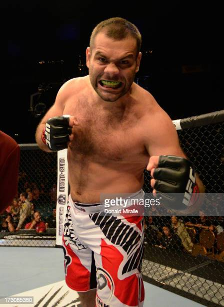 Gabriel Gonzaga reacts to his victory over Dave Herman in their heavyweight fight during the UFC 162 event inside the MGM Grand Garden Arena on July...