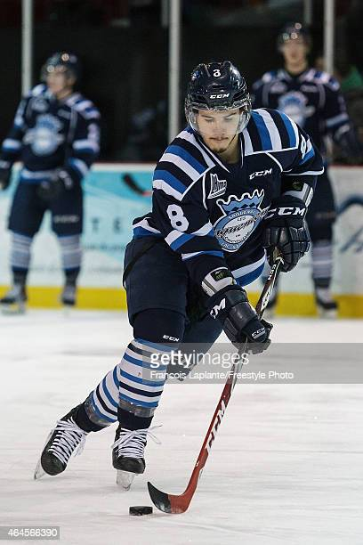 Gabriel Gosselin of the Chicoutimi Sagueneens skates with the puck during warmup prior to a game against the Gatineau Olympiques on February 20, 2015...