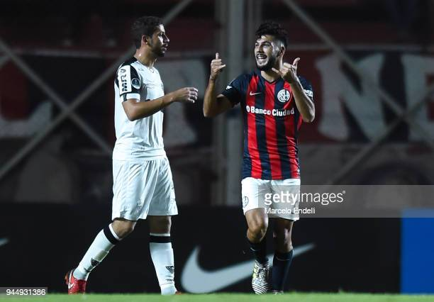 Gabriel Gudino of San Lorenzo celebrates after scoring the first goal of his team during a match between San Lorenzo and Atletico Mineiro as part of...