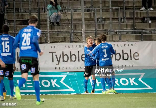 Gabriel Gudmundsson of Halmstad BK celebrates after scoring during the Allsvenskan match between Orebro SK and Halmstad BK at Behrn Arena on October...