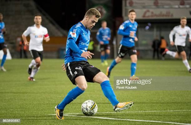 Gabriel Gudmundsson of Halmstad BK during the Allsvenskan match between Orebro SK and Halmstad BK at Behrn Arena on October 20, 2017 in Orebro,...