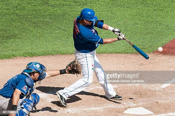 Gabriel Gutiérrez of Charros de Jalisco in action against Yaquis of Obregon in the first game of semifinals of liga del Pacífico in Zapopan 2015 on...