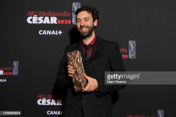 Gabriel Harel poses with the Animation Short Film award for the movie 'La nuit des sacs plastiques' during the Cesar Film Awards 2020 Ceremony At...