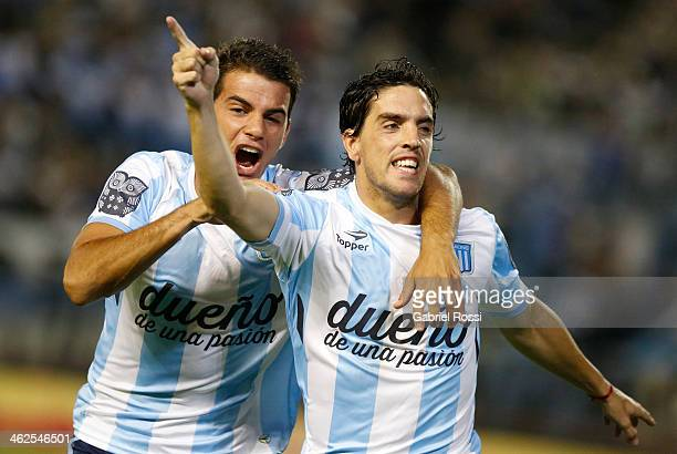 Gabriel Hauche of Racing Club celebrates the first goal of his team during a match between Racing Club and Independiente as part of the summer...