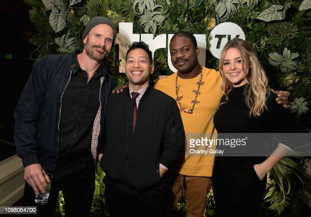 Gabriel Hogan Eugene Cordero Marcus Henderson and Hassie Harrison attend the truTV Happy Hour at The Langham Huntington Hotel and Spa on February 11...