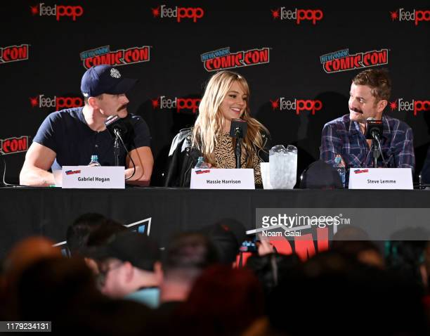 Gabriel Hogan Hassie Harrison and Steve Lemme speak onstage at the Tacoma FD panel during New York Comic Con 2019 at Jacob Javits Center on October...