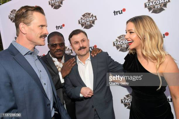 Gabriel Hogan Marcus Henderson Steve Lemme and Hassie Harrison attend truTV's Tacoma FD Premiere Event on March 20 2019 in Los Angeles California