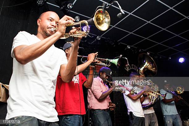 Gabriel Hubert Amal Baji Hubert Jafar Baji Graves Tarik Graves Uttama Hubert Saiph Graves Seba Graves and Tycho Cohran of Hypnotic Brass Ensemble...