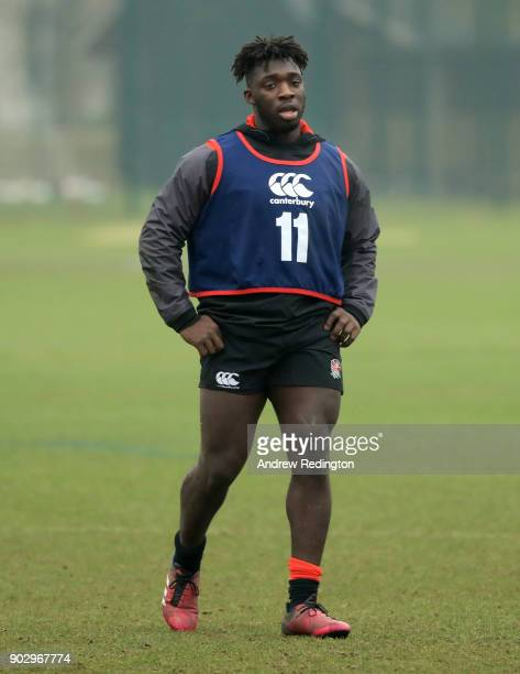 Gabriel Ibitoye in action during England U20 Media Access at Bisham Abbey on January 9 2018 in Marlow England