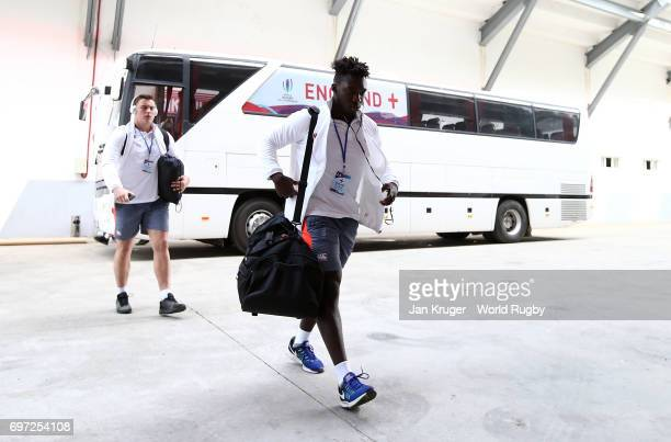 Gabriel Ibitoye of England arrives during the World Rugby U20 Championship final match between England and New Zealand at Mikheil Meskhi Stadium on...
