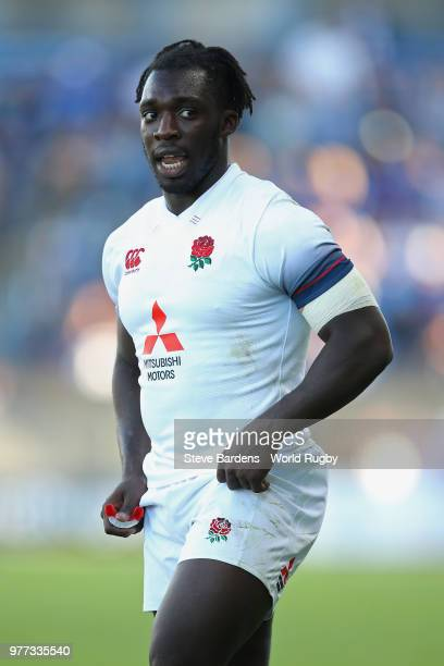 Gabriel Ibitoye of England during the World Rugby Under 20 Championship Final between England and France at the Stade De La Mediterraneeon on June 17...
