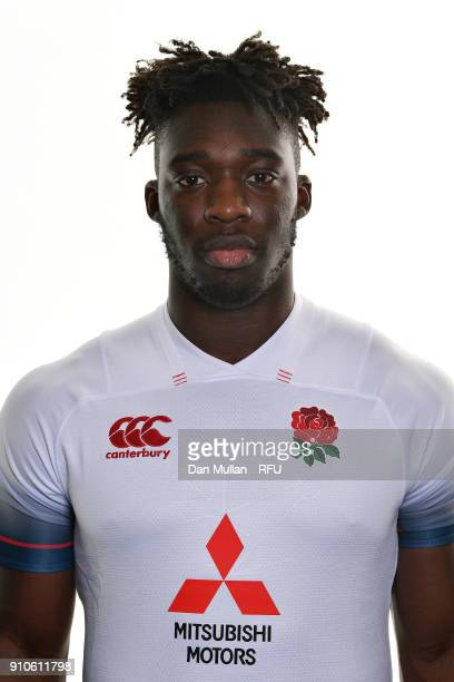 Gabriel Ibitoye of England poses for a portrait during the England U20 Squad Photo call at Bisham Abbey on January 10 2018 in Marlow England