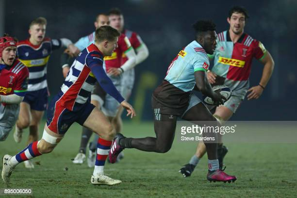 Gabriel Ibitoye of Harlequins A carves his way through the Bristol United defence during the Aviva A League match between Harlequins A and Bristol...
