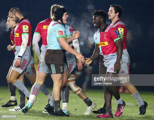 Gabriel Ibitoye of Harlequins A celebrates scoring a try for his side with Charlie Piper of Harlequins A during the Aviva A League match between...