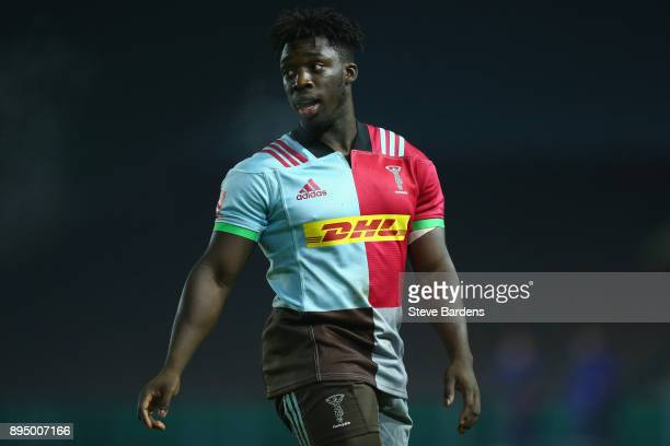 Gabriel Ibitoye of Harlequins A during the Aviva A League match between Harlequins A and Bristol United at Twickenham Stoop on December 18 2017 in...