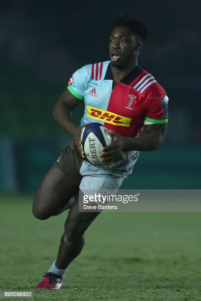 Gabriel Ibitoye of Harlequins A in action during the Aviva A League match between Harlequins A and Bristol United at Twickenham Stoop on December 18...