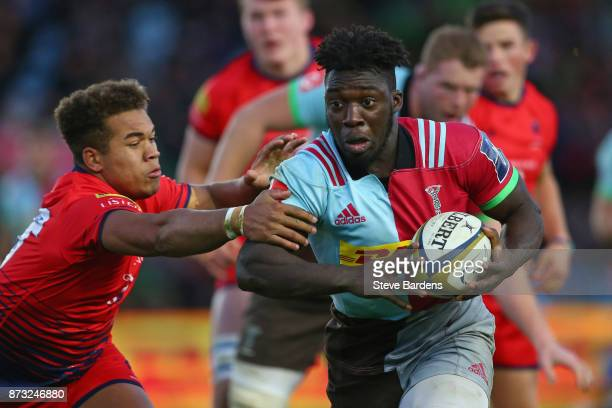Gabriel Ibitoye of Harlequins in action during the AngloWelsh Cup round two match between Harlequins and Worcester Warriors at Twickenham Stoop on...