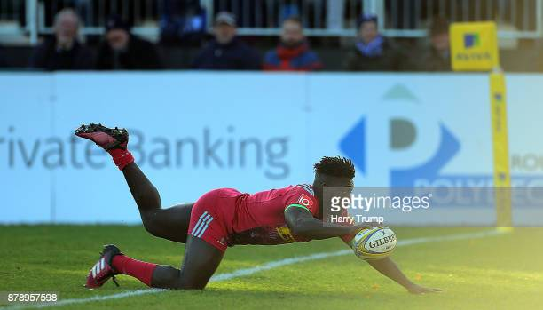 Gabriel Ibitoye of Harlequins scores his sides second try during the Aviva Premiership match between Bath Rugby and Harlequins at the Recreation...