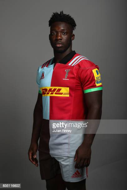Gabriel Ibitoye of Quins poses for a portrait during the Harlequins photocall for the 20172018 Aviva Premiership Rugby season at The Stoop on August...