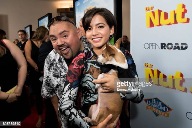 Gabriel Iglesias and actress Isabela Moner attend the premiere of Open Road Films' 'The Nut Job 2 Nutty by Nature' at Regal Cinemas LA Live on August...