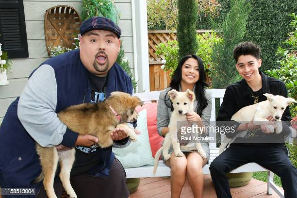 Gabriel Iglesias Cree Cicchino and Fabrizio Zacharee Guido visit Hallmark's Home Family at Universal Studios Hollywood on June 26 2019 in Universal...