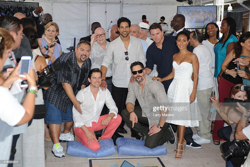 Gabriel Iglesias, Matt Bomer, Adam Rodríguez, Joe Manganiello, Channing Tatum and Jada Pinkett Smith attend Magic Mike XXL cast honored with stars on The Official Miami Walk Of Fame at Bayside Marketplace on June 24, 2015 in Miami, Florida.