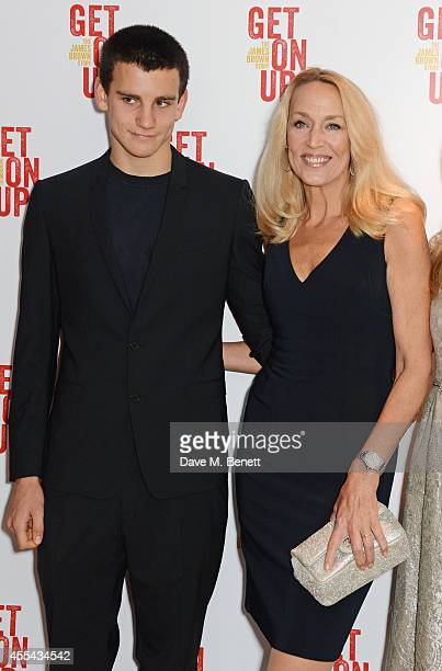 Gabriel Jagger and Jerry Hall attend a special screening of Get On Up at The Ham Yard Hotel on September 14 2014 in London England