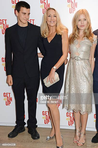 Gabriel Jagger Jerry Hall and Georgia May Jagger attend a special screening of Get On Up at The Ham Yard Hotel on September 14 2014 in London England