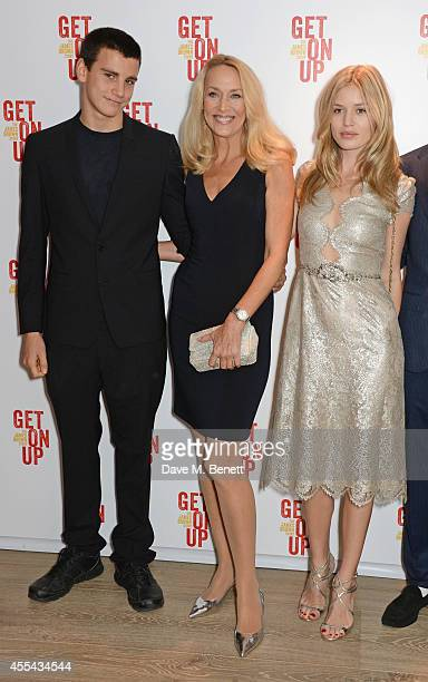 Gabriel Jagger Jerry Hall and Georgia May Jagger attend a special screening of 'Get On Up' at The Ham Yard Hotel on September 14 2014 in London...
