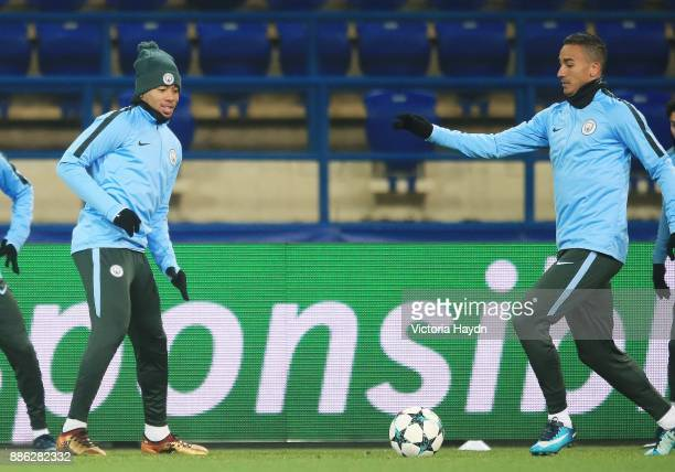 Gabriel Jesus and Danilo in action during a Manchester City training session on December 5 2017 in Kharkov Ukraine