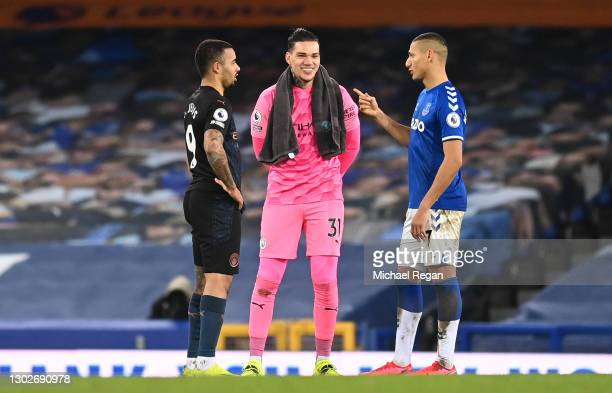 Gabriel Jesus and Ederson of Manchester City speak with Richarlison of Everton following the Premier League match between Everton and Manchester City...