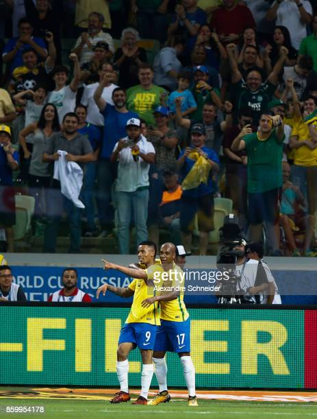 Gabriel Jesus and Fernandinho of Brazil celebrate their thirth goal during the match between Brazil and Chile for the 2018 FIFA World Cup Russia...