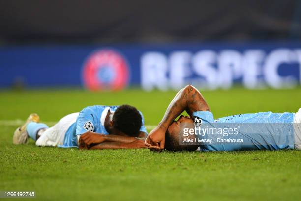 Gabriel Jesus and Raheem Sterling of Manchester City look dejected after the UEFA Champions League Quarter Final match between Manchester City and...