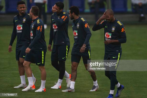 Gabriel Jesus Arthur Thiago Silva Neymar Jr and Fernandinho arrive for a training session of the Brazilian national football team at the squad's...