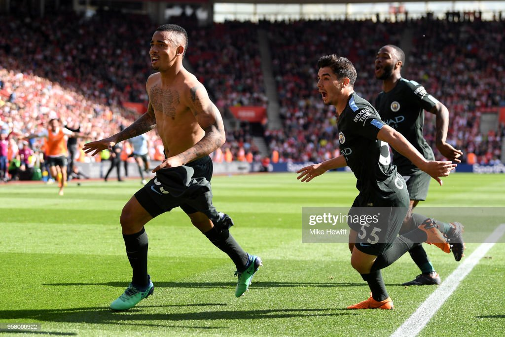 Gabriel Jesus, Brahim Diaz and Raheem Sterling of Manchester City celebratres after the Premier League match between Southampton and Manchester City at St Mary's Stadium on May 13, 2018 in Southampton, England.