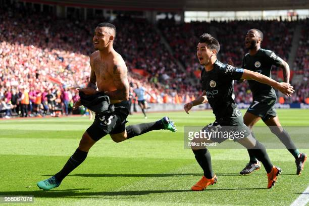 Gabriel Jesus Brahim Diaz and Raheem Sterling of Manchester City celebratres after Gabriel Jesus of Manchester City scored their sides first goal the...