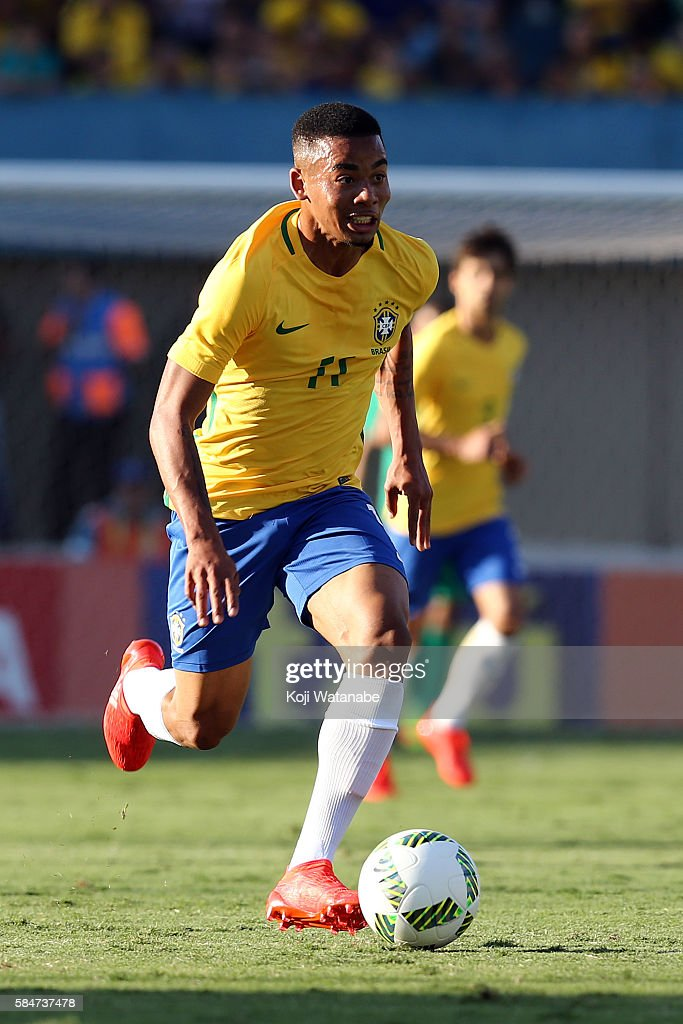 Gabriel Jesus #11of Brazil in action during the international friendly match between Japan and Brazil at the Estadio Serra Dourada on July 30, 2016 in Goiania, Brazil.