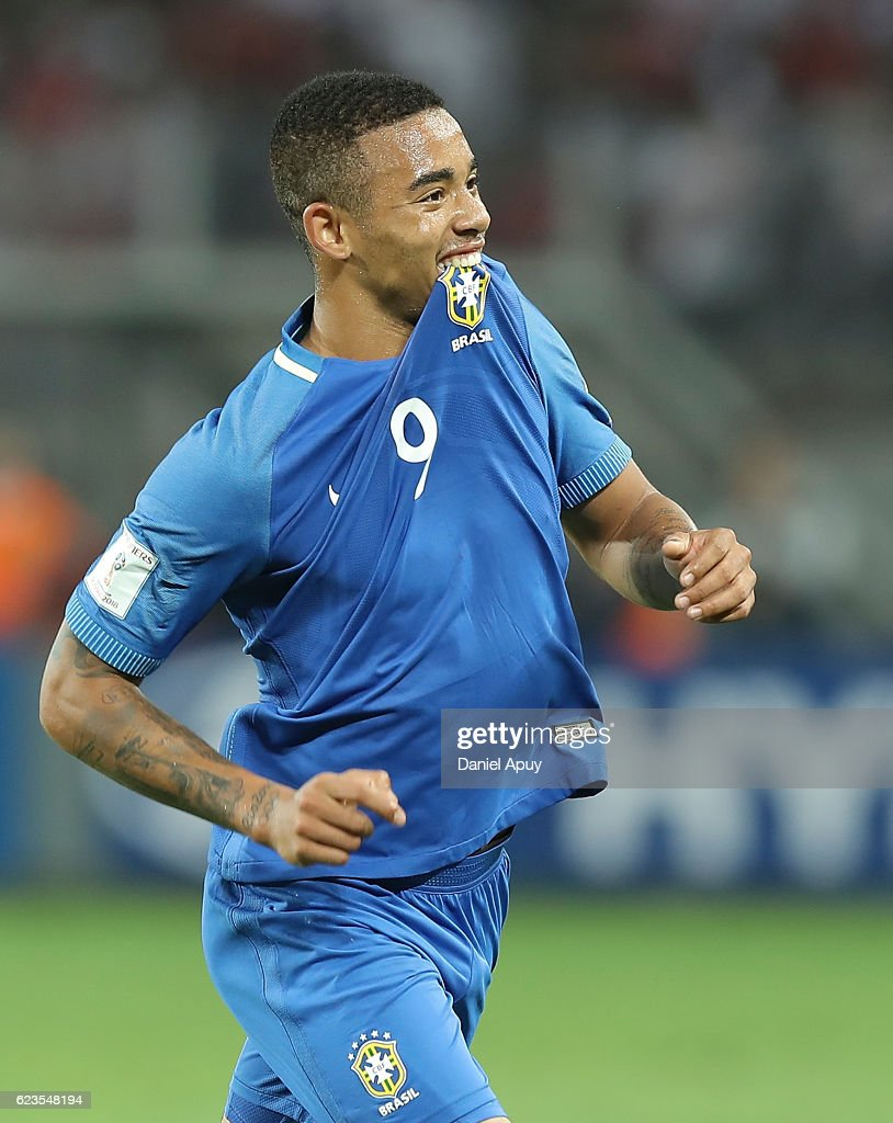 Gabriel Jesus celebrates after scoring his team's first goal during a match between Peru and Brazil as part of FIFA 2018 World Cup Qualifiers at Nacional Stadium on November 15, 2016 in Lima, Peru.