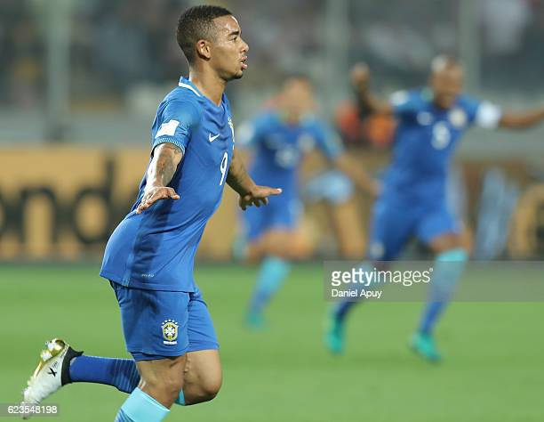 Gabriel Jesus celebrates after scoring his team's first goal during a match between Peru and Brazil as part of FIFA 2018 World Cup Qualifiers at...