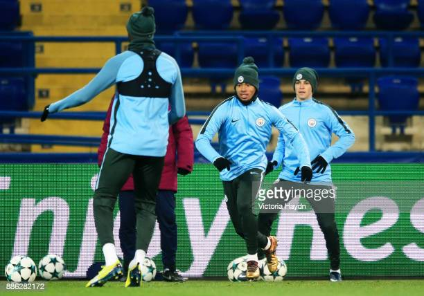 Gabriel Jesus in action during a Manchester City training session on December 5 2017 in Kharkov Ukraine