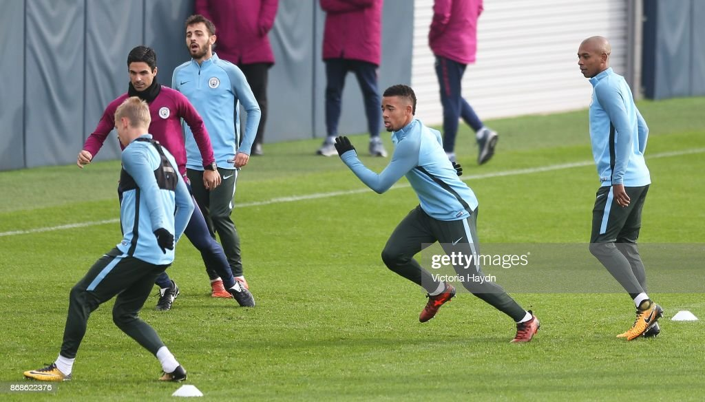 Gabriel Jesus in action during training at Manchester City Football Academy on October 31, 2017 in Manchester, England.