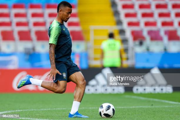 Gabriel Jesus kicks the ball during a Brazil training session and press conference ahead of the Group E match against Serbia at Spartak Stadium on...