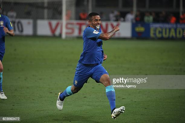 Gabriel Jesus of Brasil celebrates his goal during 2018 World Cup Qualifying match between Peru and Brasil at National Stadium in Lima Peru on...