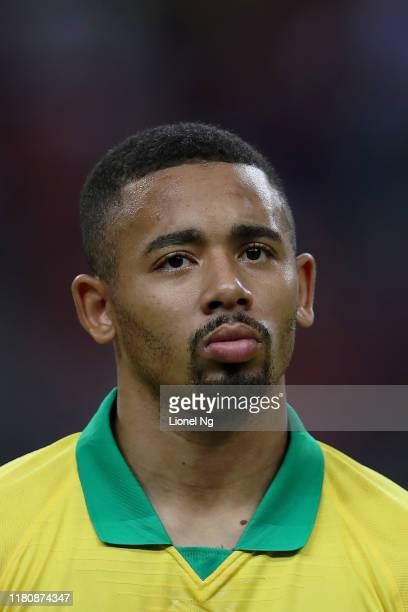 Gabriel Jesus of Brazil at the national anthem during the international friendly match between Brazil and Nigeria at the Singapore National Stadium...