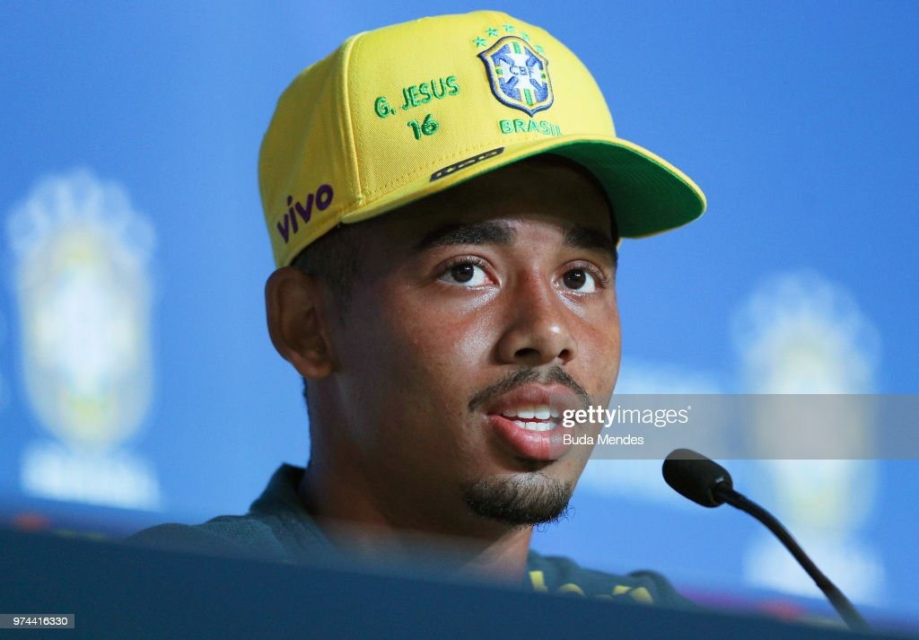 Gabriel Jesus of Brazil attends the media during a Brazil press conference ahead of the FIFA World Cup 2018 at Yug-Sport Stadium on June 14, 2018 in Sochi, Russia.