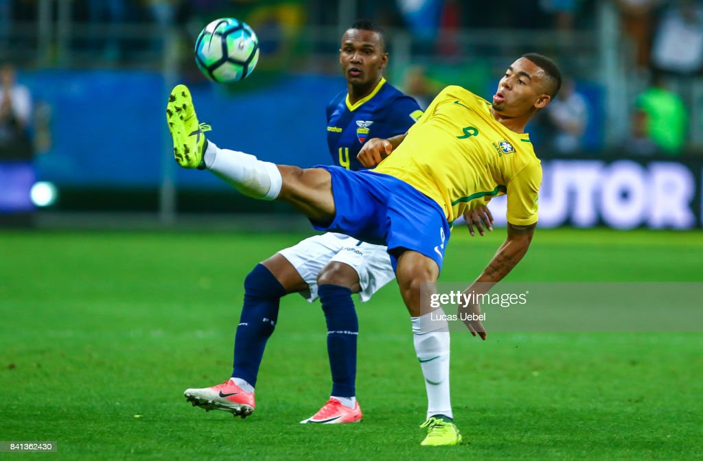 Gabriel Jesus of Brazil battles for the ball against Pedro Velasco of Equador during the match Brazil v Equador - 2018 FIFA World Cup Russia Qualifier, at Arena do Gremio on August 31, 2017, in Porto Alegre, Brazil.