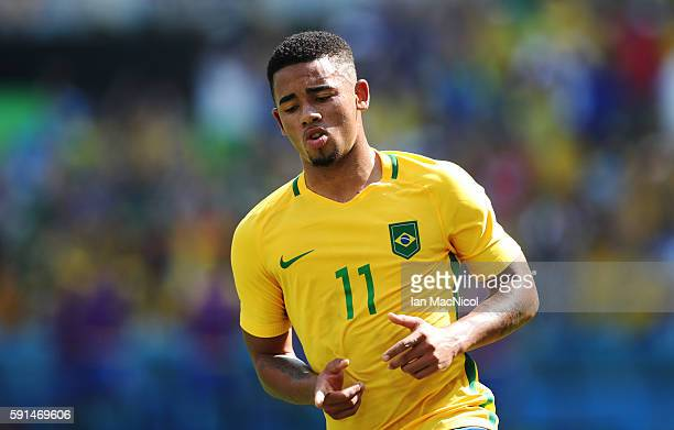 Gabriel Jesus of Brazil celebrates after he scores Brazil's third goal during the Semi Final match between Brazil and Honduras at Maracana Stadium on...
