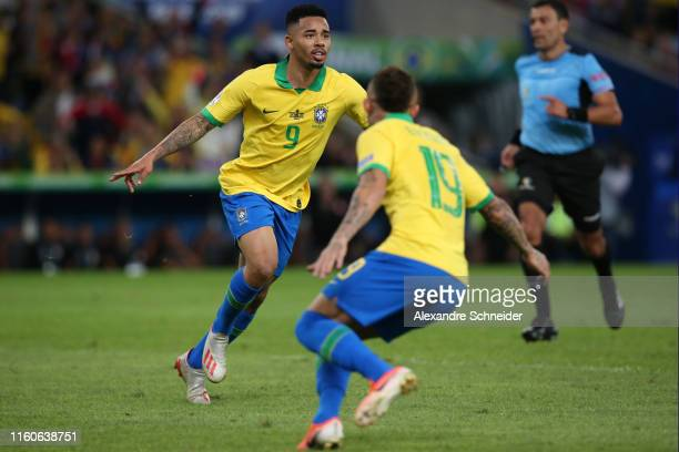 Gabriel Jesus of Brazil celebrates after scoring the first goal of his team during the Copa America Brazil 2019 Final match between Brazil and Peru...