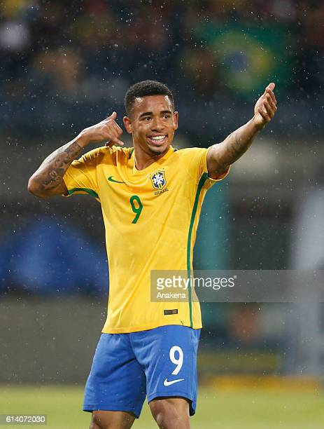 Gabriel Jesus of Brazil celebrates after scoring the opening goal during a match between Venezuela and Brazil as part of FIFA 2018 World Cup...